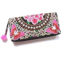 Wallet by WP Embroidery Butterfly Flower Zipper Wallet Purse Clutch Bag Handbag Iphone Case Handmade for Women, Pink Wallet