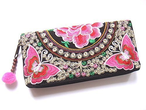 Wallet by WP Embroidery Butterfly Flower Zipper Wallet Purse Clutch Bag Handbag Iphone Case Handmade for Women, Pink - Bag Black Bvlgari