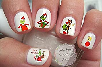 Amazon Com Christmas Nail Decal Nail Art Decals Set Of 40 Beauty