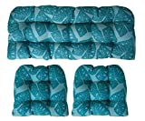 Sunbrella Radiant Lagoon 3 Piece Wicker Cushion Set - Indoor / Outdoor Wicker Loveseat Settee & 2 Matching Chair Cushions - Teal / Turquoise / Blue / Green Tropical Leaf Design