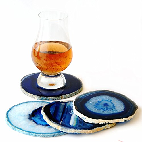 """Natural Sliced Dyed Agate Coaster with Rubber Bumper Set of 4 (Q.1 Blue, 3-3.5""""), By JIC Gem"""
