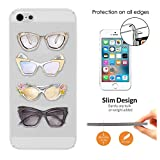 c00329 - Cool Fun Cute Sunglasses Illustration Art Designer Fashion Love Shopping Ladies Girls Design iphone SE 2016 / iphone 5 5S Fashion Trend CASE Ultra Slim Light Plastic 0.3MM All Edges Protection Case Cover-Clear