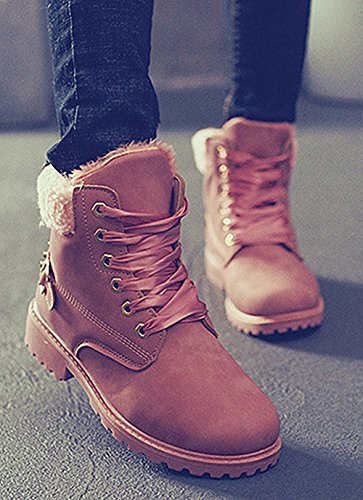 Boots Pairs Women's up ZHENZHONG Ankle Lace Combat Shoelaces Pink of 2 Fur Lining U0xfRn