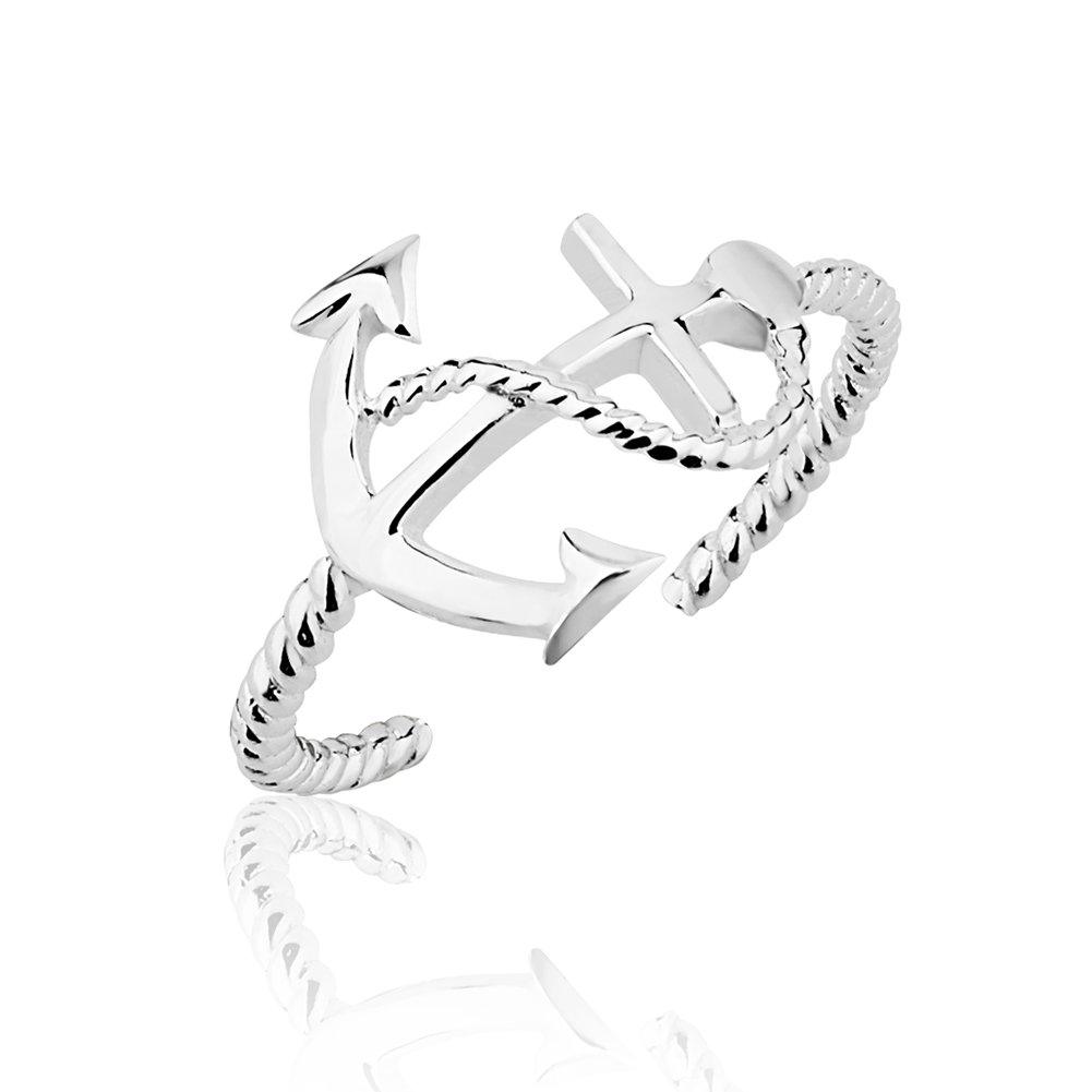 925 Sterling Silver Horizontal Nautical Anchor & Chain Open Ended Band Toe Ring