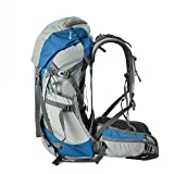 Tofine Waterproof External Frame Hiking Pack Travel Bag Women Rain Cover Blue 48 Liter