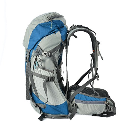 Tofine Waterproof External Frame Hiking Pack Travel Bag Women Rain Cover Blue 48 Liter by Tofine