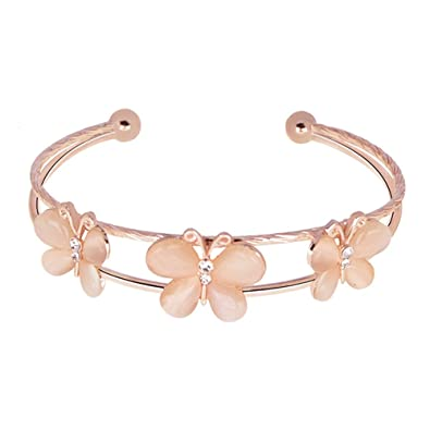 7cd2bc1a41b48 Amazon.com: CHUYUN Gold Rose Gold Silver Adjustable 3 Butterfly Cuff ...