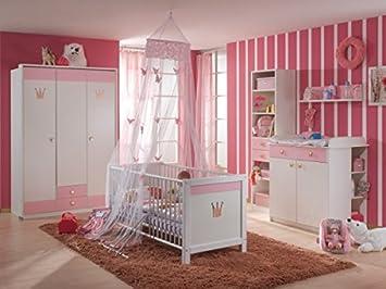 Babyzimmer weiß  BABYZIMMER KINDERZIMMER CINDERELLA 7 Teilig Weiß Rosa: Amazon.de: Baby