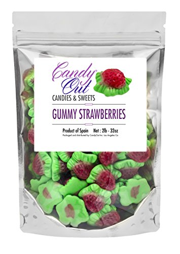 (Gummy Strawberries - 2 Pound Strawberry Gummi Candy in CandyOut Sealed)