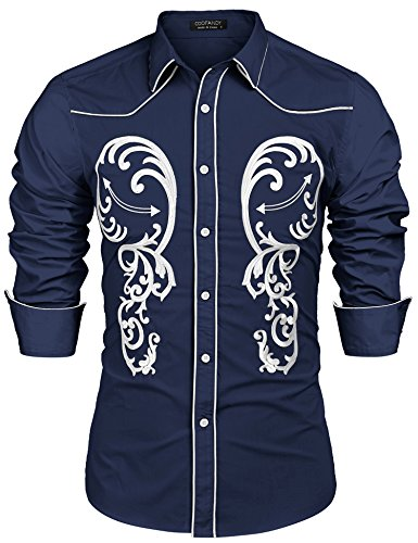 COOFANDY Men's Cowboy Western Embroidered Shirt Long Sleeve Button Down Shirts, Blue, Small -