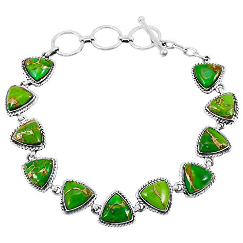 Turquoise Bracelet Sterling Silver 925 Genuine Turquoise Gemstones Link Bracelet (Green Turquoise)