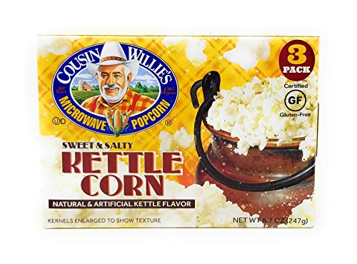 Cousin Willies Sweet & Salty Kettle Corn Microwave Popcorn (3 Boxes)