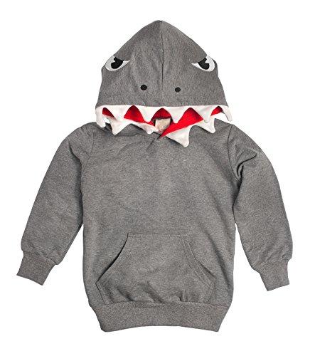 Kids Shark Hoodie (Doodle Pants Boys' Shark with Fin Hoodie 4T Gray)