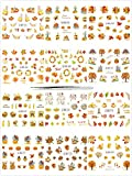 12 sheets Thanksgiving Nail Tattoo Stickers with Tweezers-Nail Art Water Slide Tattoo Decals Self-adhesive Autumn Maple Fall Leaves Pumpkin Manicure Nail Tip Tattoo Art Decals for Women Girls Kids DIY