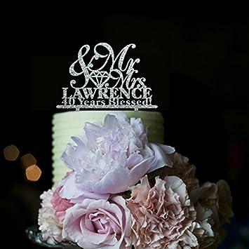 Anniversaire De Mariage Pour Gâteau Personnalisée Mr Et Mrs 40 Ans