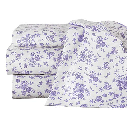 Classic Floral Sheet Set - Collections Etc Lavender All-Over Floral Design Sheet Set - Includes Flat Sheet, Fitted Sheet, 2 Floral Pillow Cases, and 2 White Pillow Cases, Lavender, Full