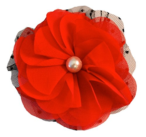 - Pearl Chiffon Flower Hair Clip Funny Girl Designs (Ruby Red)