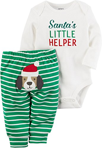 Carter's Baby My 1st Christmas Little Helper 2 Piece Bodysuit Pants Set (9 Months, White/Green)