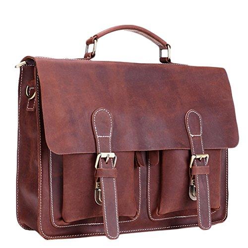 BININBOX Men's Leather Flapover Case Vintage Message Bag Handabg Travel Shuolder Bag by BININBOX