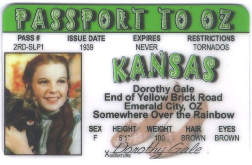 Wizard Of Oz Dorthy (Wizard Wizard of Oz - Dorothy Fun Fake ID License)