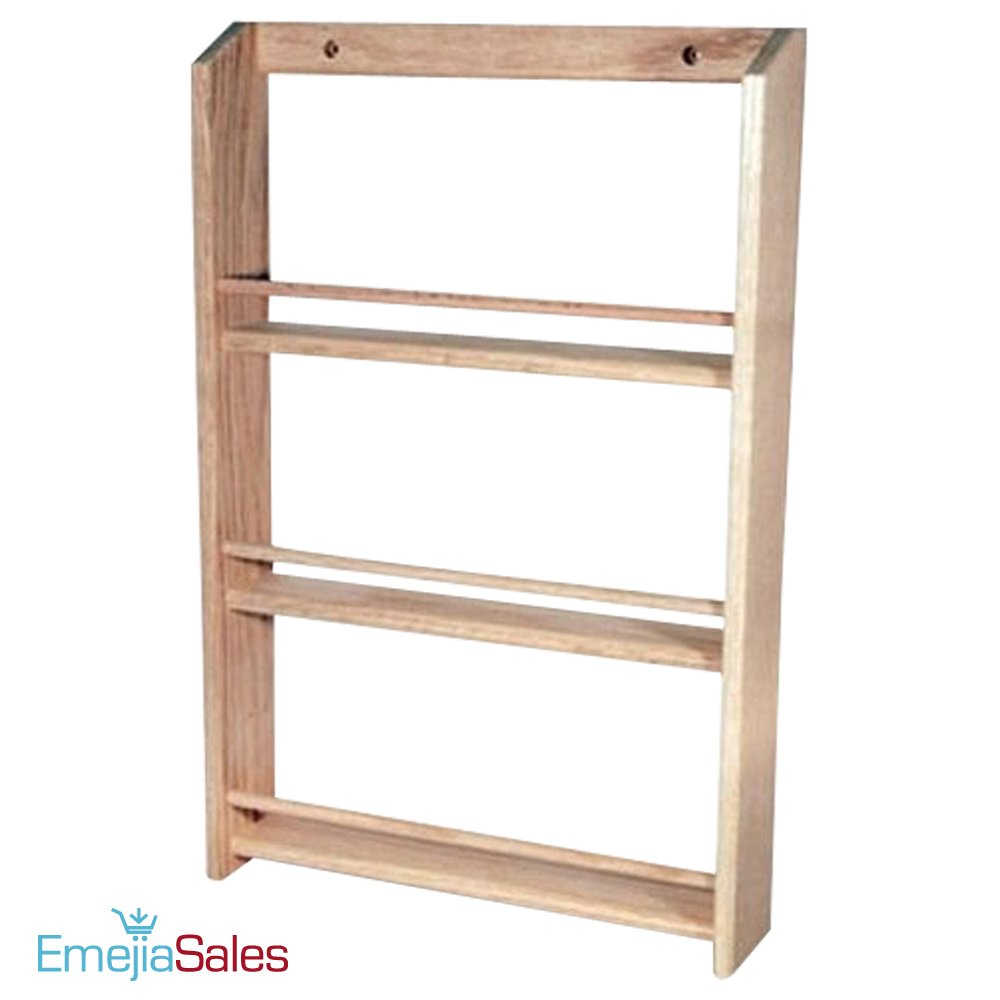 EmejiaSales Oak Spice Rack Wall Mount Organizer (3-Shelf Design), Hanging Natural Wood Country Rustic Style, Great Storage for Pantry and Kitchen - Holds 18 Herb Jars by EmejiaSales (Image #4)