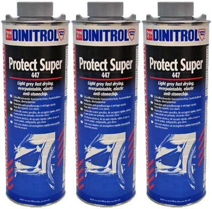 Dinitrol 447 Rubber Based Stone Chip Cans Grey 3 X 1 Litre Cans With Protective Screw Cap Auto