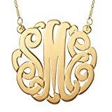 "Gold Plated Custom Monogram Necklace - personalize with your initials (16"", 18"", or 20"")"
