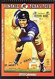 Vintage Texas Tech Red Raiders 2018 College Football Calendar: Football Game-day Program Art: 1900s to 1970s