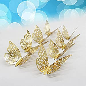 FimKaul 12Pcs Removable 3D Butterfly Wall Stickers Decals DIY Mural for Kids Girls Children Bedroom Living Room Background Nursery (Gold)