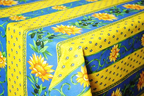 Le Cluny, Sunflower (Tournesol) Blue and Yellow French Provence 100 Percent COATED Cotton Tablecloth, 60 Inches x 84 Inches