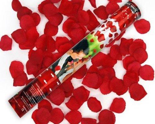 5 x Rosen Regen mit roten Rosenblättern Konfetti Kanone Shooter Hochzeit Konfettibome Partypopper