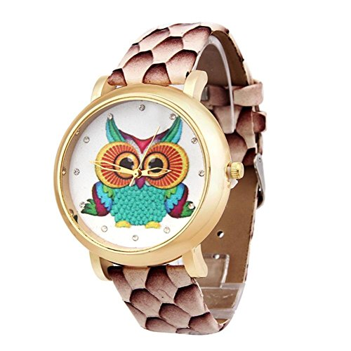 GBSELL Fashion Women Owl Shoes Pattern Leather Band Analog Quartz Vogue Watches,Brown