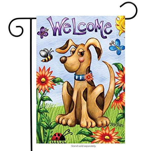 """Springtime Puppy Garden Flag Butterflies Floral Dog 12.5"""" x"""