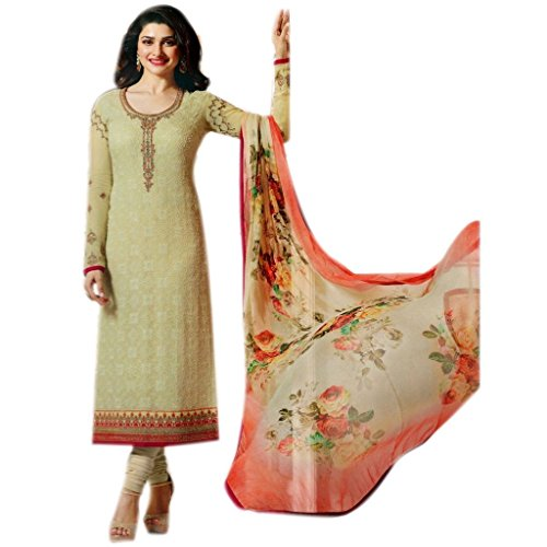 (Ready Made Georgette Embroidered India Pakistan Churidar Straight Salwar Suit (Beige,)
