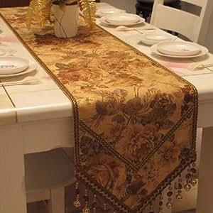 Diaidi gold flower print table runner elegant for 102 table runner