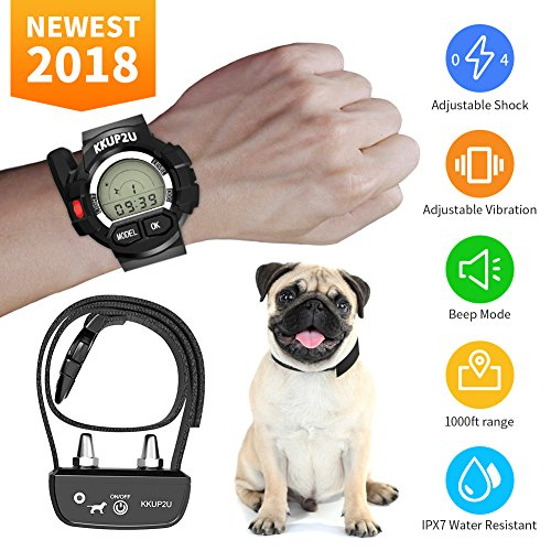 Dog Training Collar, KKUP2U Rechargeable and Waterproof Beep/ Vibration/ Shock Electric Collar for All Size Dogs, 1000 Foot Range
