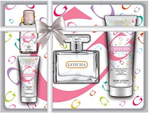 4 pces cadeau Gotcha féminin comprend 1 Oz Body Lotion, 2.7 Oz Body Lotion - inspirée par Coach Signature 2.7 Oz EAU de parfum, lotion pour les mains 1 Oz