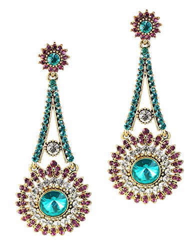 Touchstone Indian Bollywood Majestic Touch Blue/Purple Rhinestone Victorian Theme Wedding or Evening Long Bridal Chandelier Designer Jewelry Earrings for Women in Antique Gold Tone