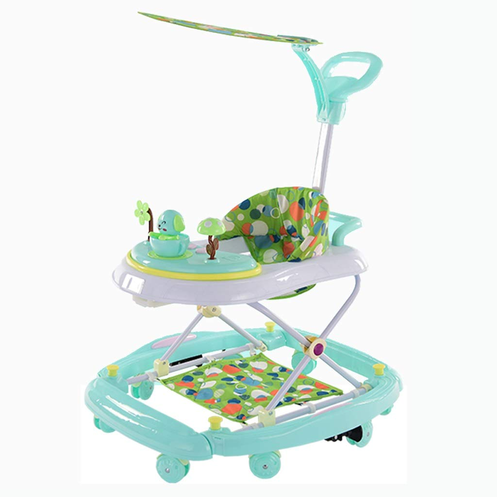 First Steps Walker,2-in-1 Car Toy with Music and Sounds Height Adjustable Rocking Horse Foldable (Color : Green) by Moolo