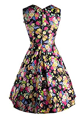 MISSEUROUS Women's Red Rose Printing Vintage A-line Swing Dress
