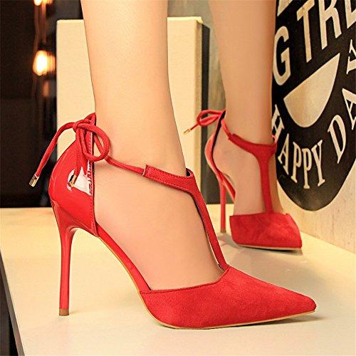 z&dw Sexy zapatos delgados con terciopelo de tacón alto con sandalias de tacón de verano de alto carácter t- Rojo