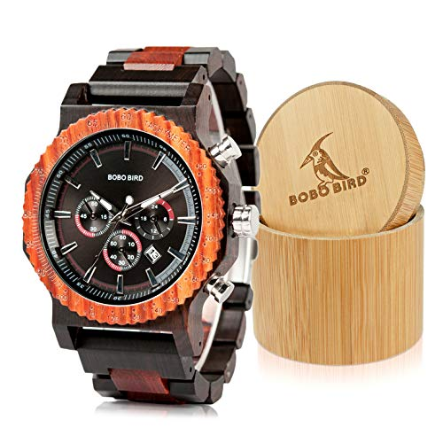 BOBO BIRD Mens Luxury Wooden Wrist Watches Large Size Date & Chronograph Display Ebony Watch with Gift Bamboo Wood Box for Men ()