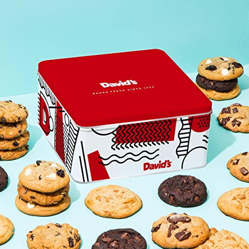David's Cookies - 24 Fresh Baked Assorted Cookies Gourmet Gift Basket - Holiday & Corporate Food Tin - Idea For Men & Women - Certified Kosher - 2lb ()