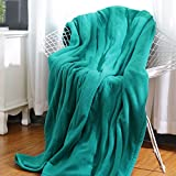 MaxKare Electric Heated Throw Blanket Polar Fleece 50'' x 60'' Lightweight Cozy Ultra-Warm Premium Microfiber Snap Lap Blankets with 3H Auto-Off 4 Heating Levels - Lake Green