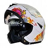 [Upgrades] ILM 10 Colors Motorcycle Flip up Modular Helmet DOT (M, Skull White)