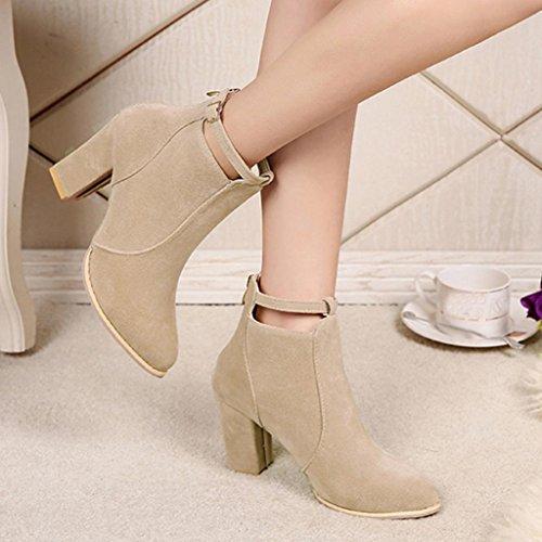 Talons Martin Chaussures Bottines Chaudes Hauts De Ceinture Boucle Bottes Dames Femmes Beige Erthome qwH8PP