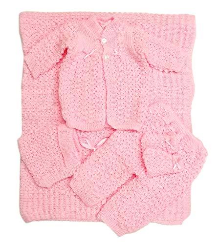 Newborn Baby Crochet Blanket 5 Piece Set Hat, Booties, Sweater, Pants (Pink)