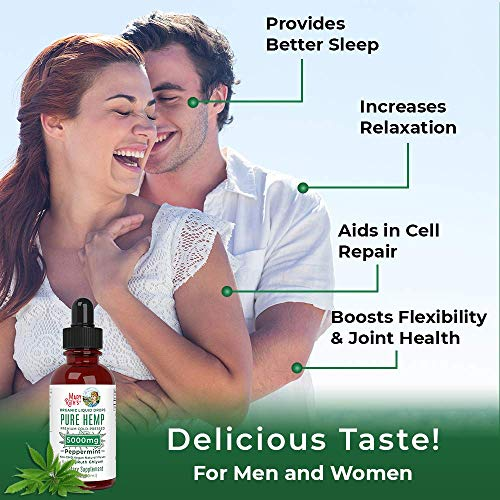 51VEU4g9qzL - (2 Pack) Organic Pure Hemp Oil Extract 5000mg by MaryRuth's for Pain & Stress Relief - Powerful for Ingestible & Topical Use - Non-GMO - Vegan - Plant Based - Sugar-Free - Peppermint - 1 oz (2 Pack)