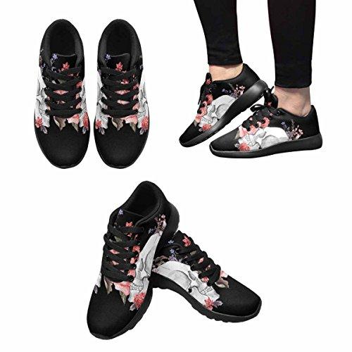 D-histoire Jogging Running Sneaker Aquarelle Fleur Crâne Femmes Confort Décontracté Sport Marche Chaussures De Course Noir