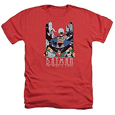 Batman The Animated Series Batman And Robin Mens Heather Shirt Red Xl